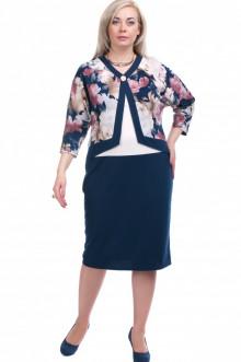 """Платье """"Олси"""" 1605013 ОЛСИ (Синий/цветы)"""