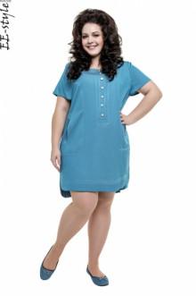 """Платье """"Её-стиль"""" 2015 ЕЁ-стиль (Небесно-голубой джинс)"""